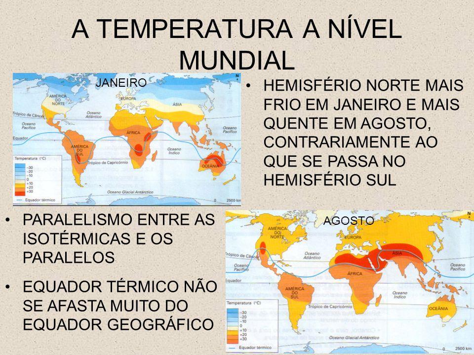 A TEMPERATURA A NÍVEL MUNDIAL