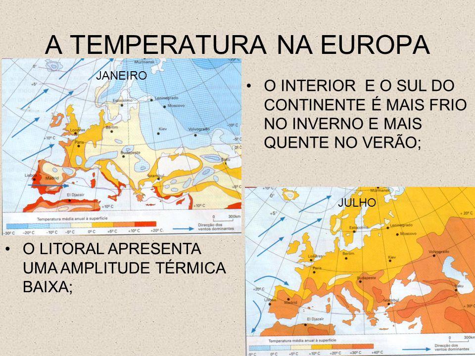 A TEMPERATURA NA EUROPA