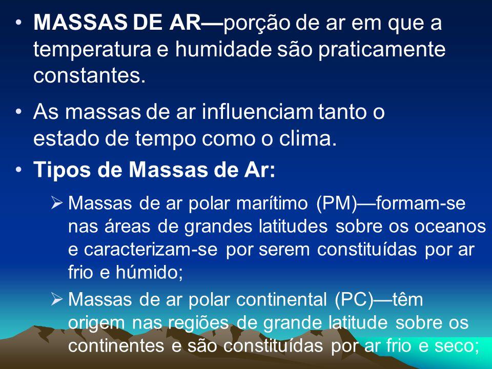 As massas de ar influenciam tanto o estado de tempo como o clima.