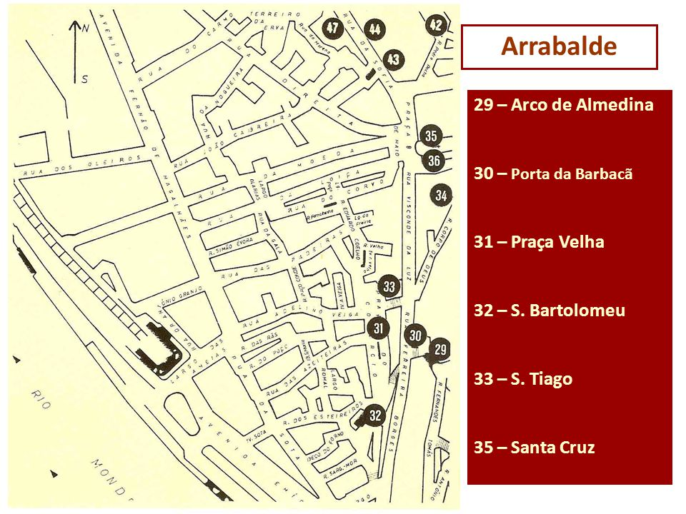 Arrabalde 29 – Arco de Almedina 30 – Porta da Barbacã 31 – Praça Velha