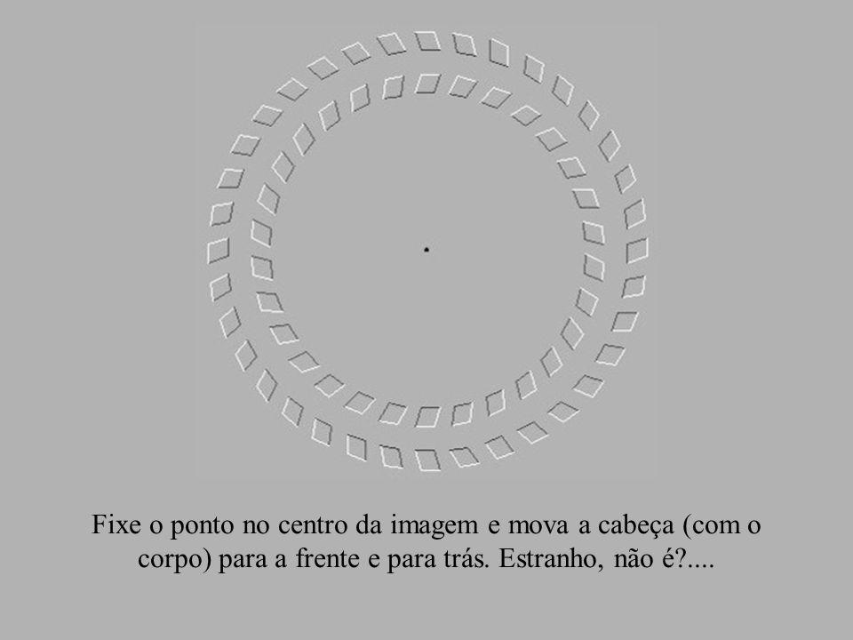 Fixe o ponto no centro da imagem e mova a cabeça (com o corpo) para a frente e para trás.