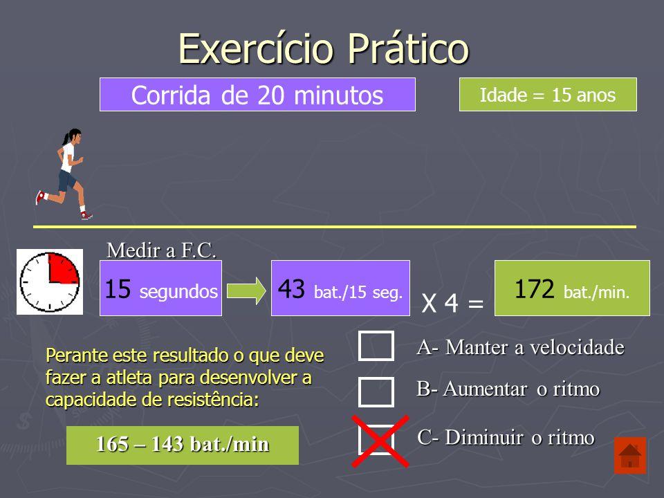 Exercício Prático Corrida de 20 minutos 15 segundos 43 bat./15 seg.