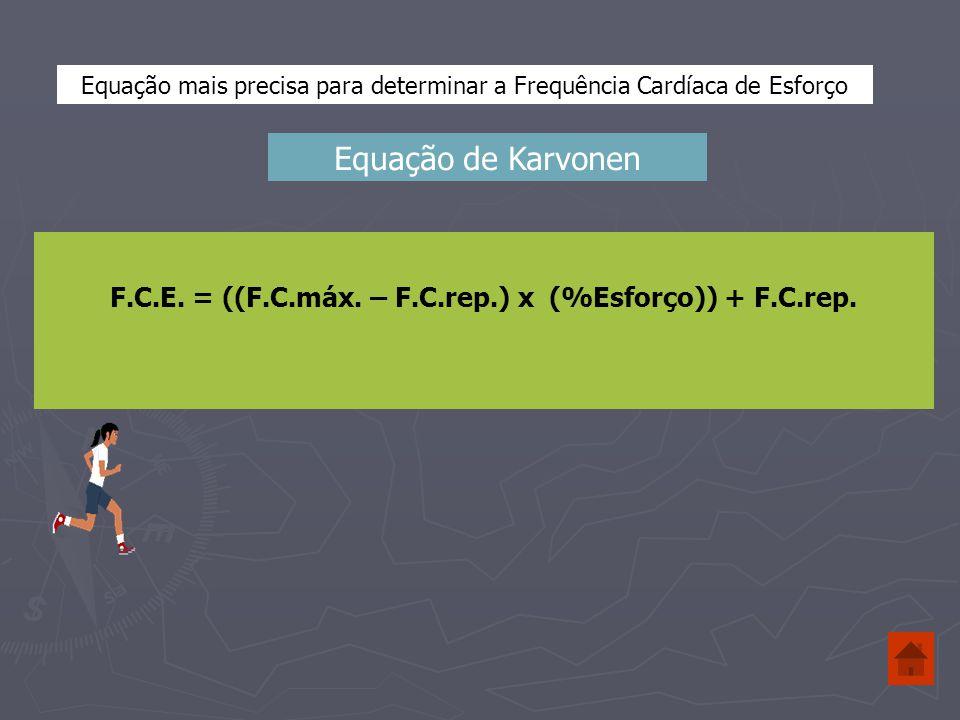 F.C.E. = ((F.C.máx. – F.C.rep.) x (%Esforço)) + F.C.rep.