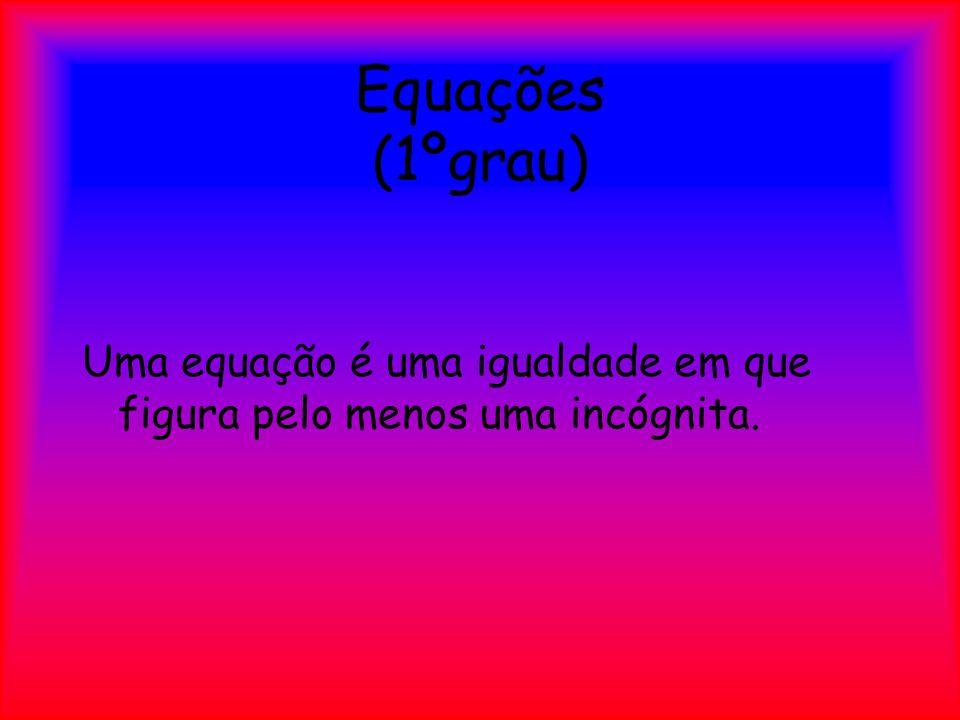 Equações (1ºgrau) Uma equação é uma igualdade em que figura pelo menos uma incógnita.