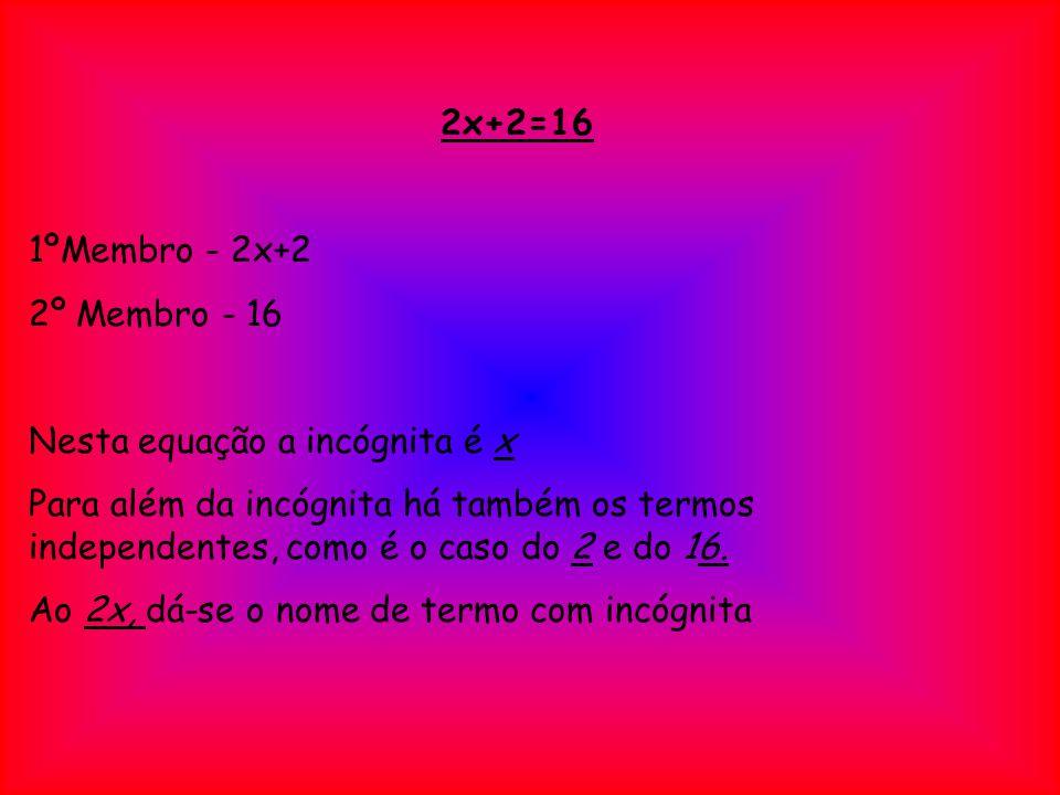 2x+2=16 1ºMembro - 2x+2. 2º Membro - 16. Nesta equação a incógnita é x.