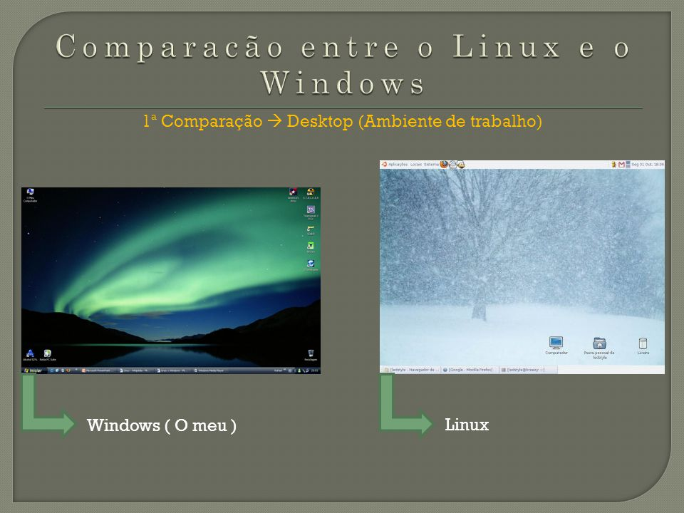Comparacão entre o Linux e o Windows