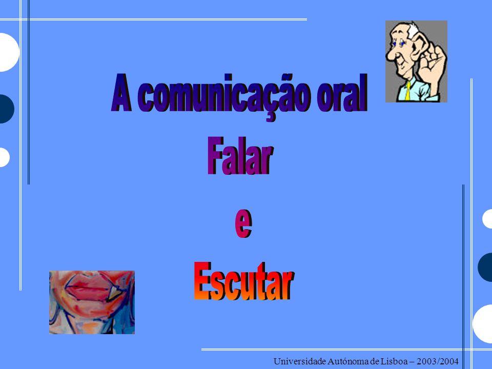 A comunicação oral Falar e Escutar