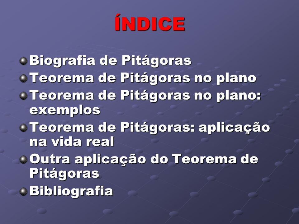 ÍNDICE Biografia de Pitágoras Teorema de Pitágoras no plano