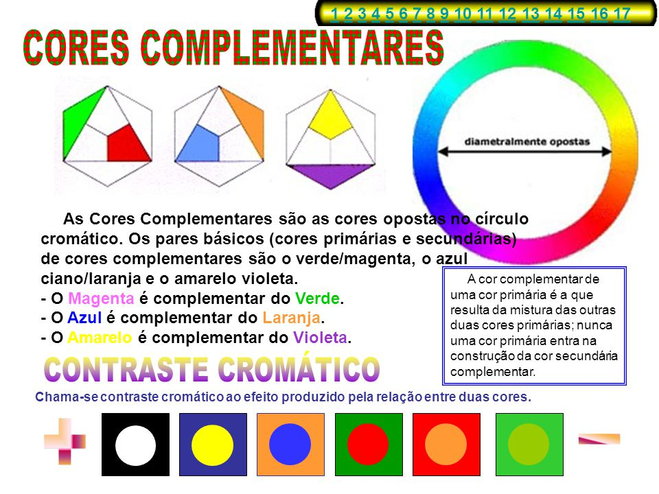 CORES COMPLEMENTARES CONTRASTE CROMÁTICO + -