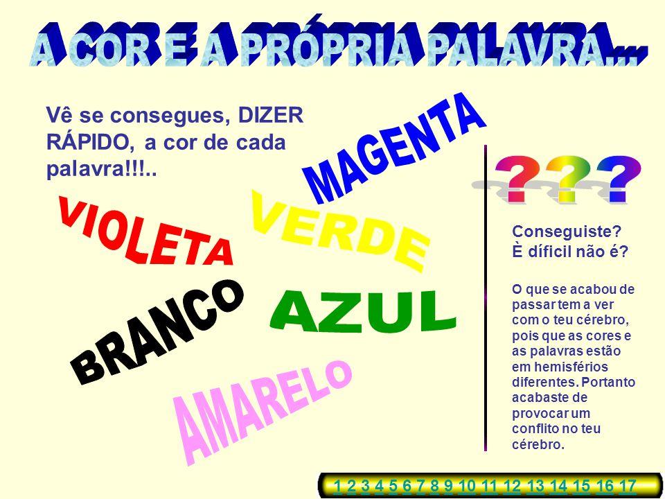A COR E A PRÓPRIA PALAVRA...