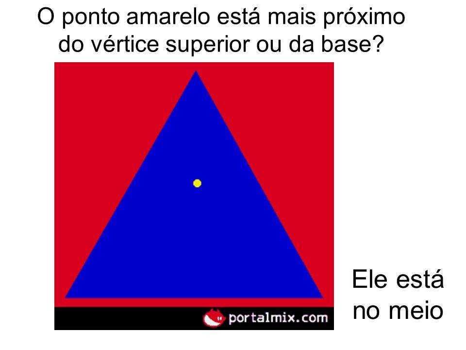 O ponto amarelo está mais próximo do vértice superior ou da base