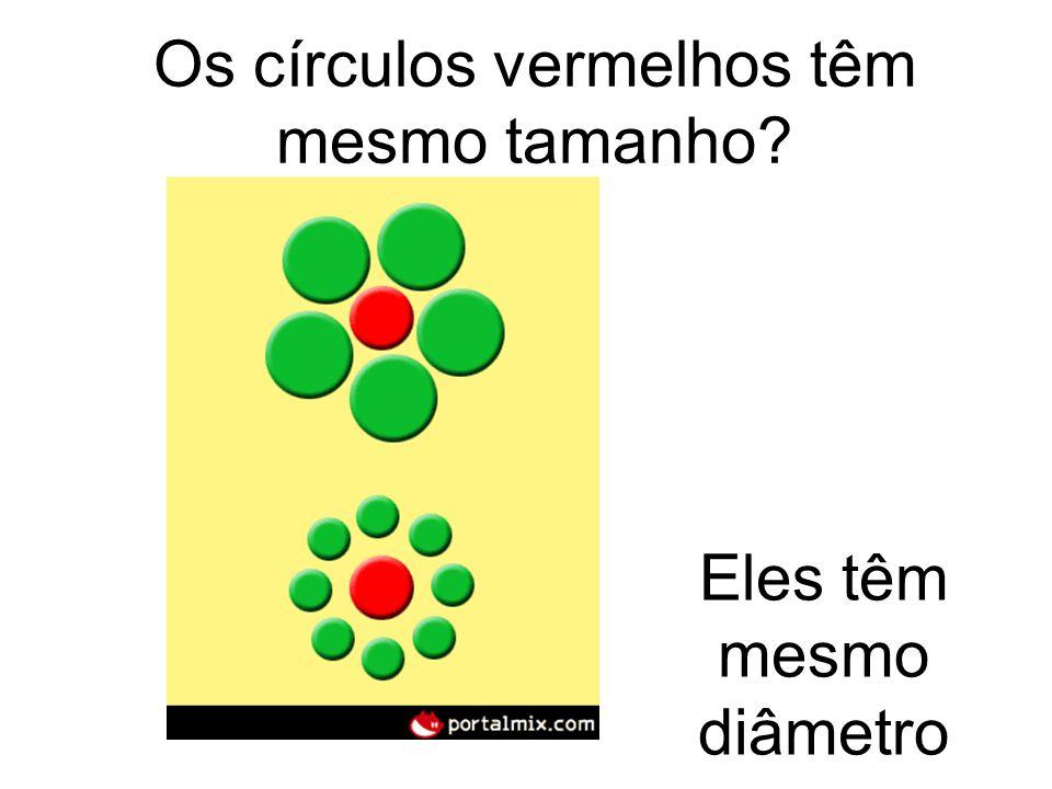 Os círculos vermelhos têm mesmo tamanho