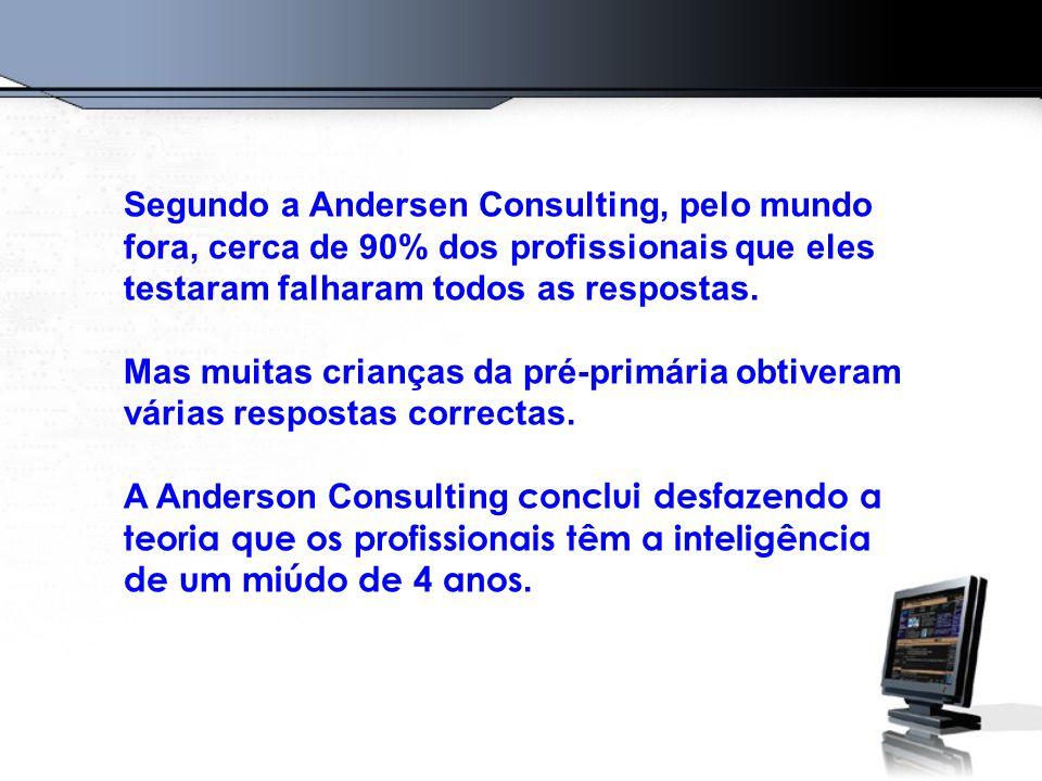 Segundo a Andersen Consulting, pelo mundo fora, cerca de 90% dos profissionais que eles testaram falharam todos as respostas.
