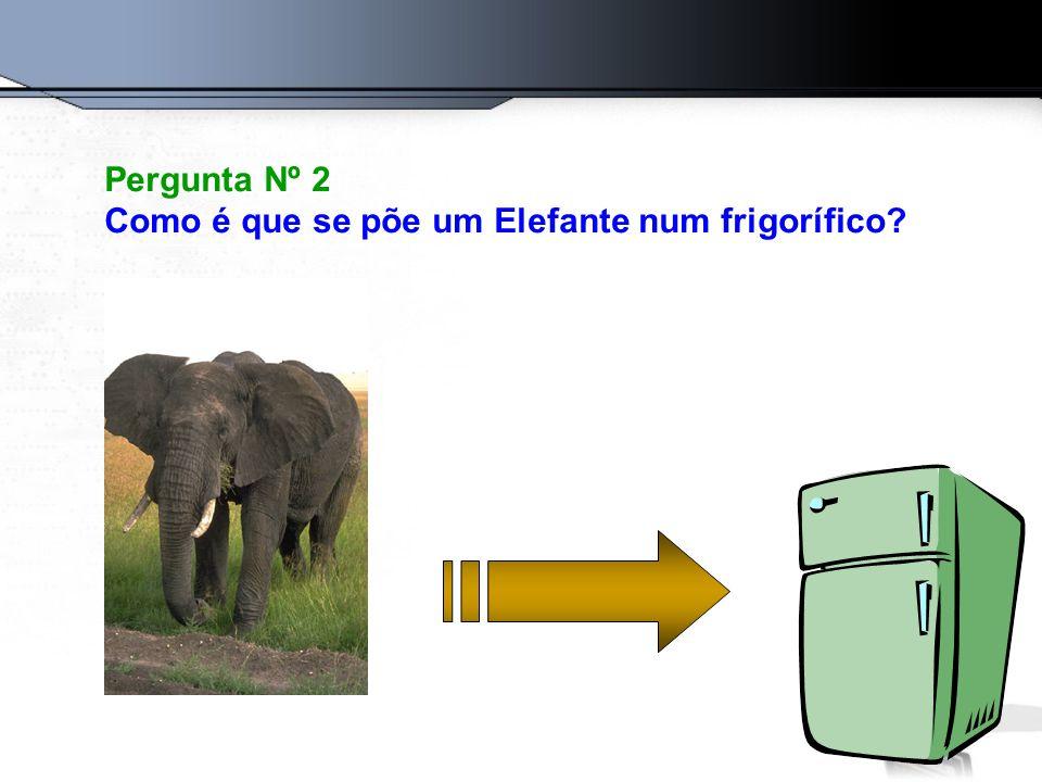 Pergunta Nº 2 Como é que se põe um Elefante num frigorífico