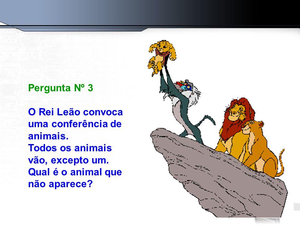 Pergunta Nº 3 O Rei Leão convoca uma conferência de animais.