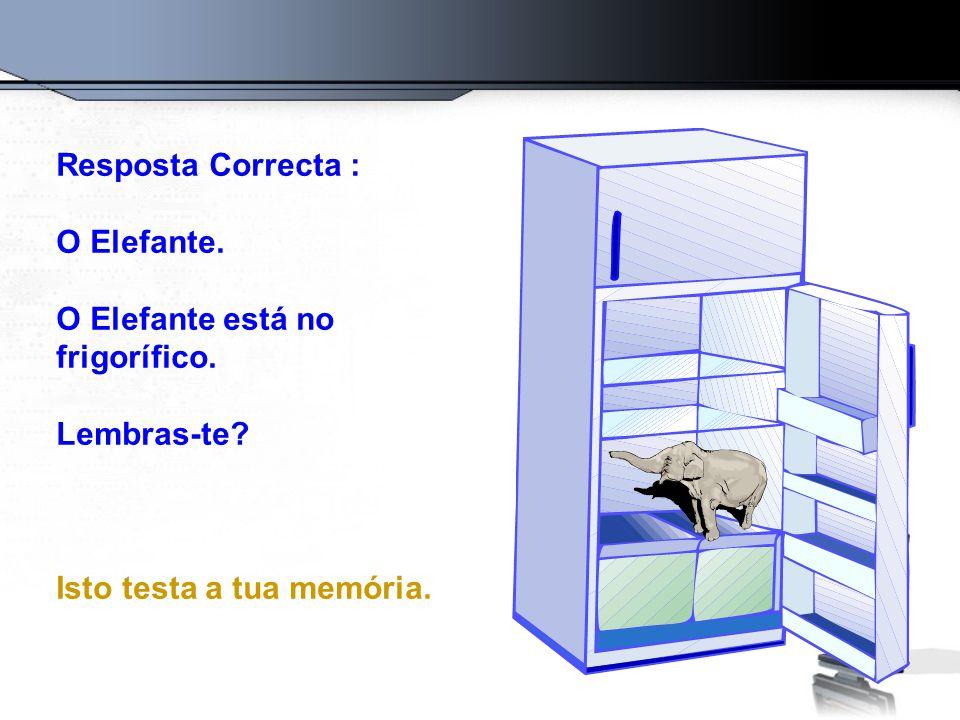 Resposta Correcta : O Elefante. O Elefante está no frigorífico.