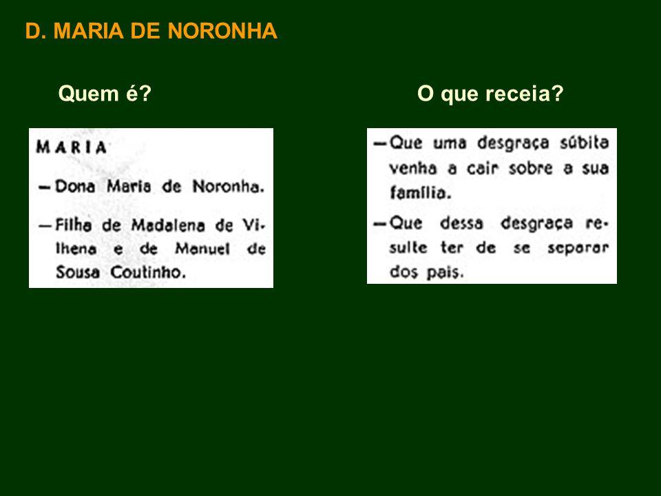 D. MARIA DE NORONHA Quem é O que receia