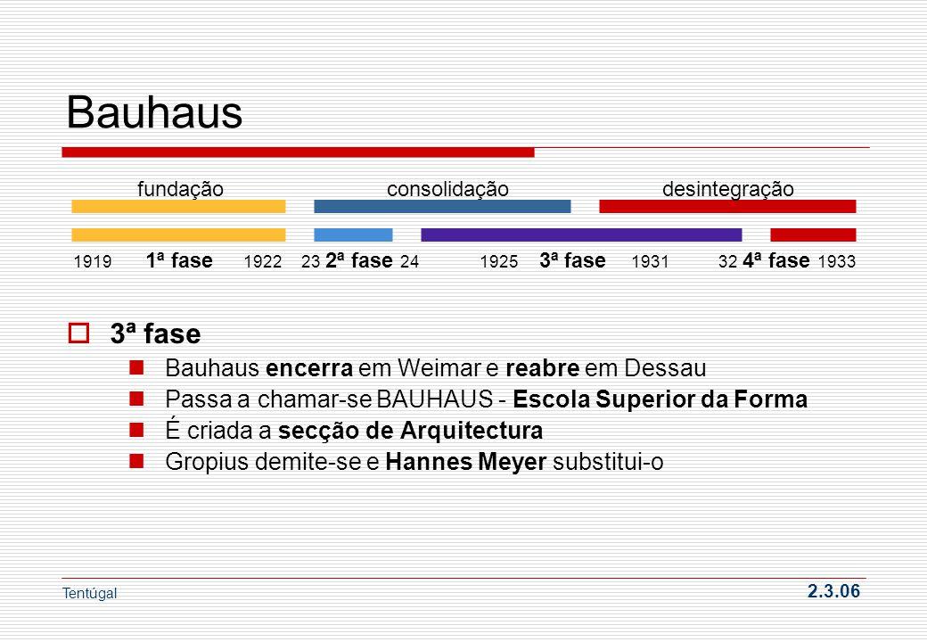 Bauhaus 3ª fase Bauhaus encerra em Weimar e reabre em Dessau