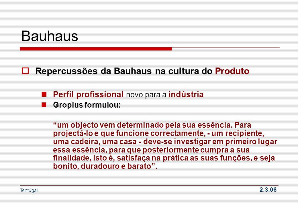 Bauhaus Repercussões da Bauhaus na cultura do Produto
