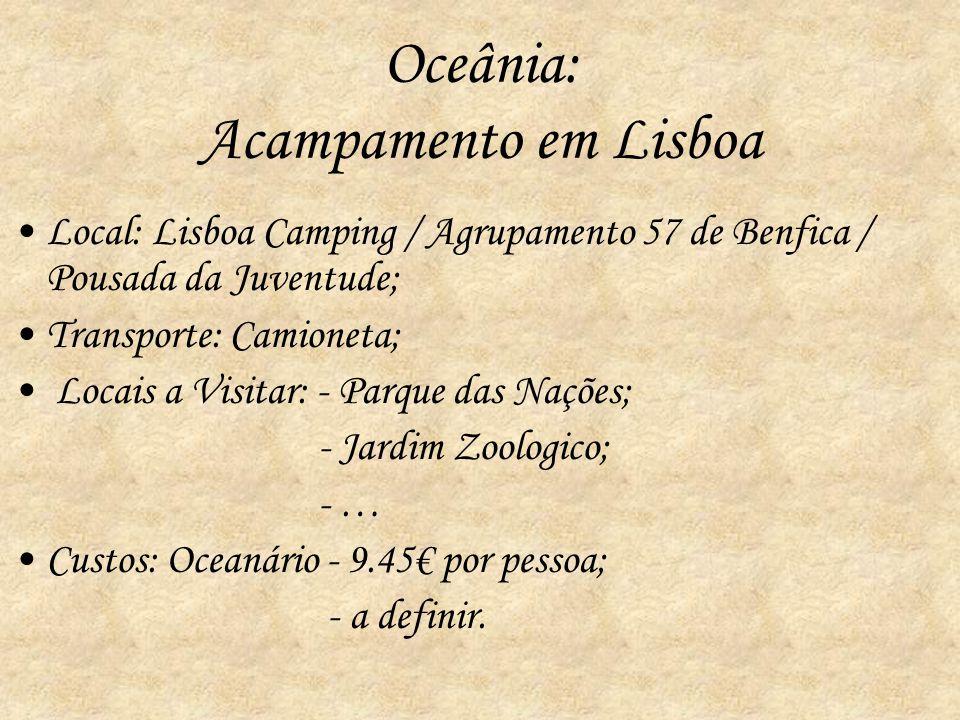 Oceânia: Acampamento em Lisboa