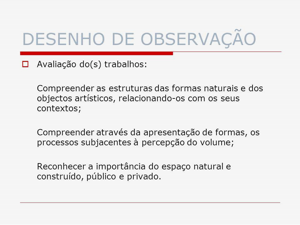 DESENHO DE OBSERVAÇÃO Avaliação do(s) trabalhos: