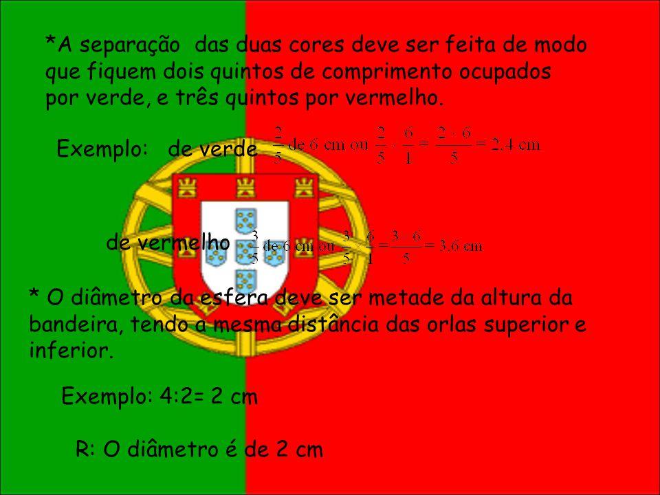 *A separação das duas cores deve ser feita de modo que fiquem dois quintos de comprimento ocupados por verde, e três quintos por vermelho.