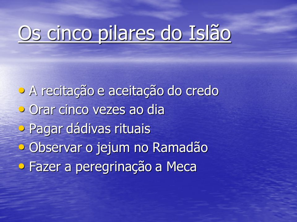 Os cinco pilares do Islão