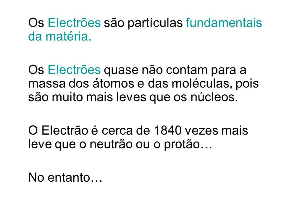 Os Electrões são partículas fundamentais da matéria.