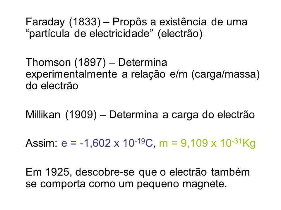 Faraday (1833) – Propôs a existência de uma partícula de electricidade (electrão)