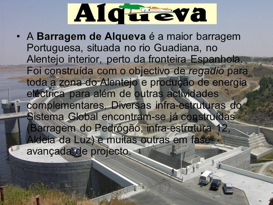 A Barragem de Alqueva é a maior barragem Portuguesa, situada no rio Guadiana, no Alentejo interior, perto da fronteira Espanhola.