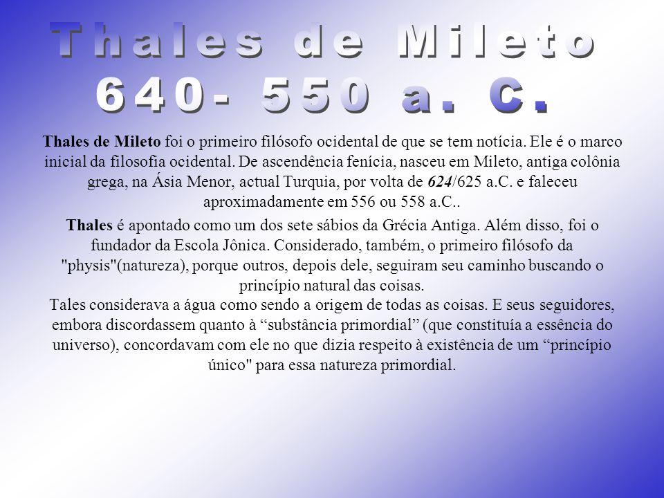 Thales de Mileto 640- 550 a. C.