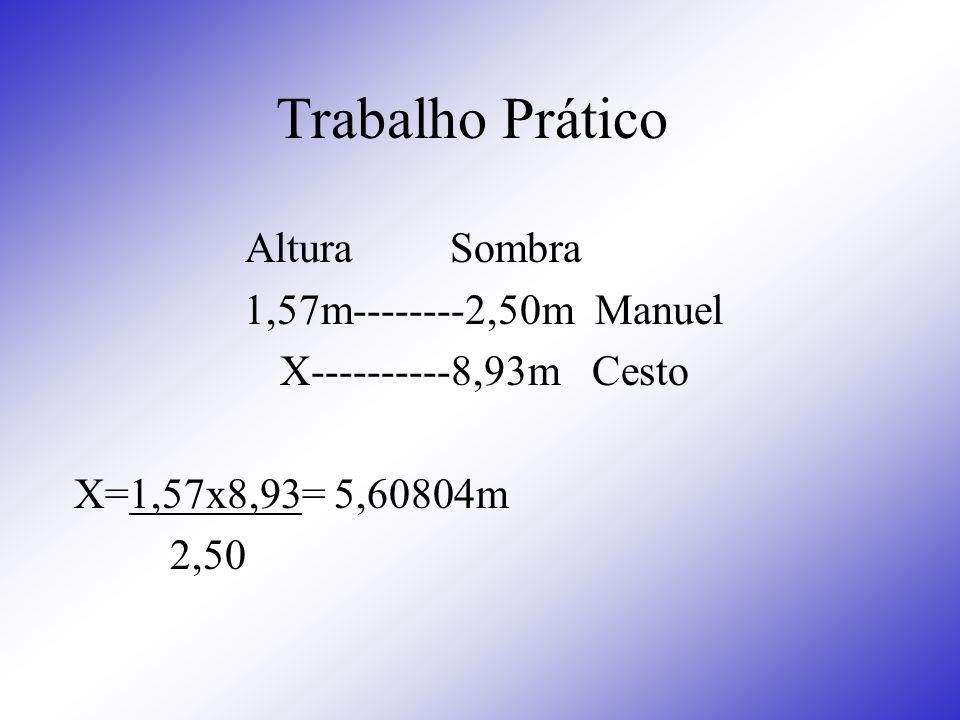 Trabalho Prático Altura Sombra 1,57m--------2,50m Manuel