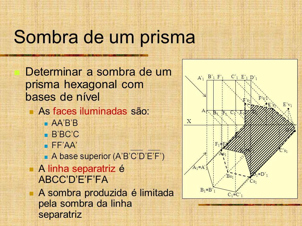 Sombra de um prisma Determinar a sombra de um prisma hexagonal com bases de nível. As faces iluminadas são: