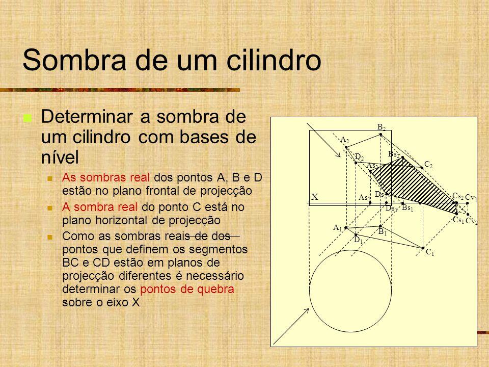 Sombra de um cilindro Determinar a sombra de um cilindro com bases de nível. As sombras real dos pontos A, B e D estão no plano frontal de projecção.