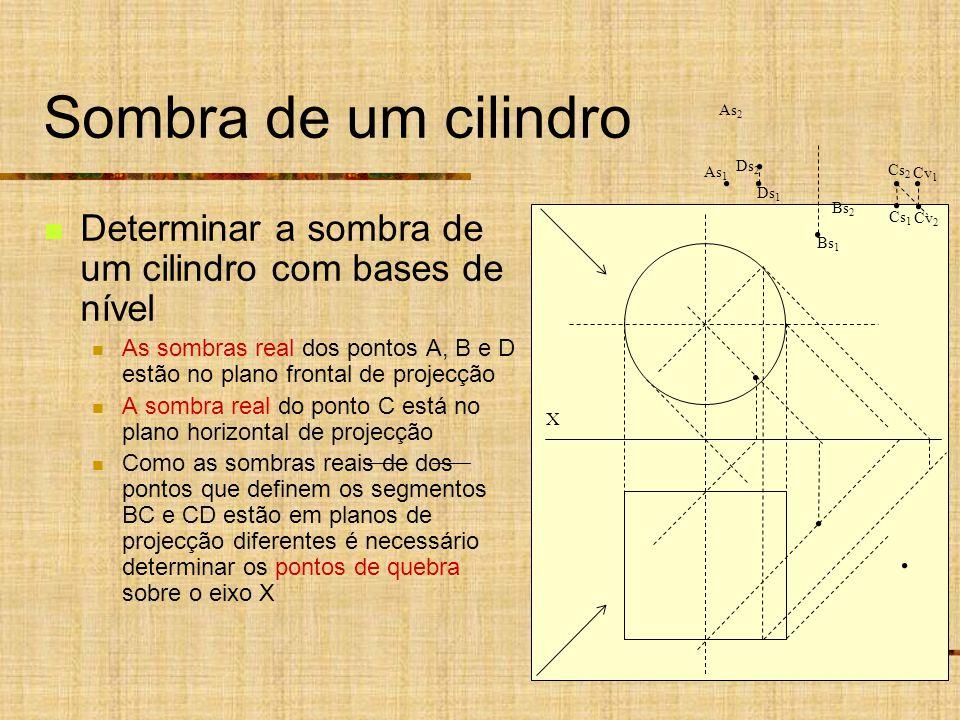 Sombra de um cilindro As2. As1. Ds2. Cs2. Cv2. Cv1. Ds1. Cs1. Bs2. Determinar a sombra de um cilindro com bases de nível.