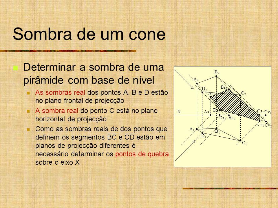 Sombra de um cone Determinar a sombra de uma pirâmide com base de nível. As sombras real dos pontos A, B e D estão no plano frontal de projecção.