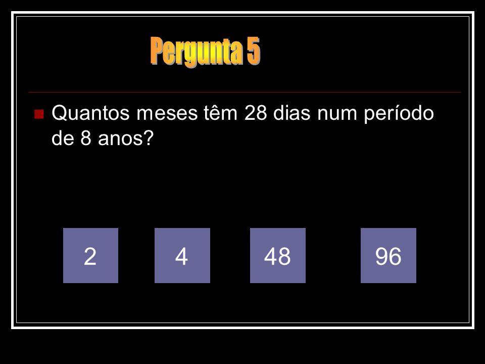 Pergunta 5 Quantos meses têm 28 dias num período de 8 anos 2 4 48 96