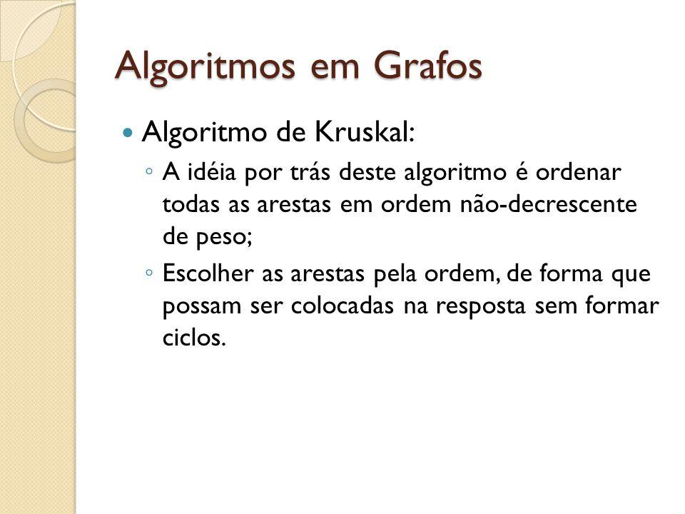 Algoritmos em Grafos Algoritmo de Kruskal: