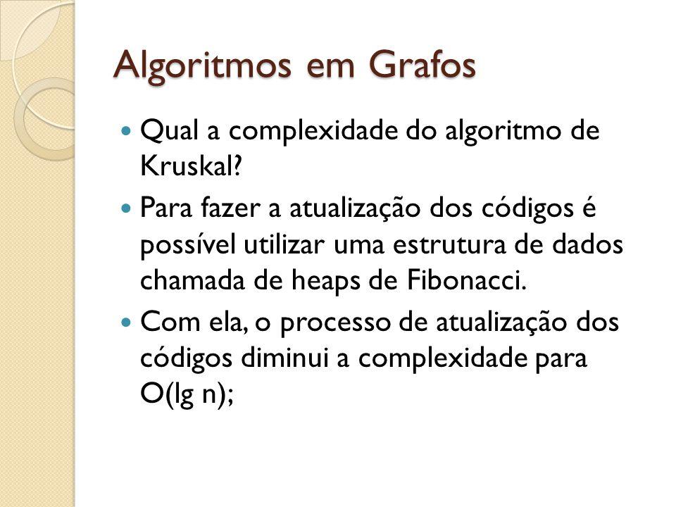Algoritmos em Grafos Qual a complexidade do algoritmo de Kruskal