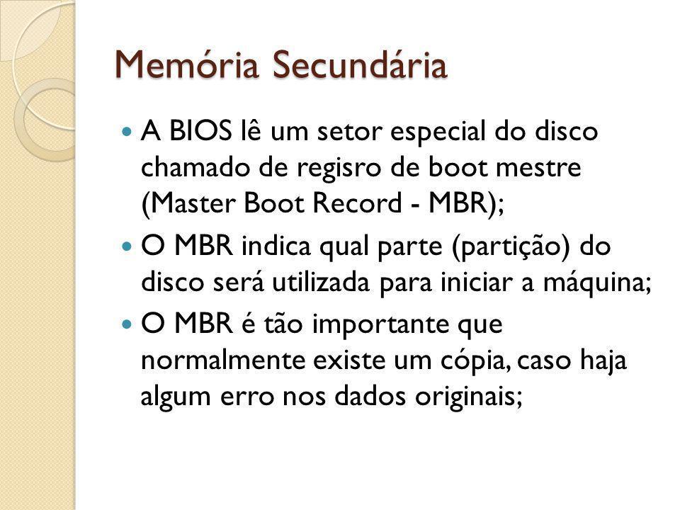 Memória Secundária A BIOS lê um setor especial do disco chamado de regisro de boot mestre (Master Boot Record - MBR);