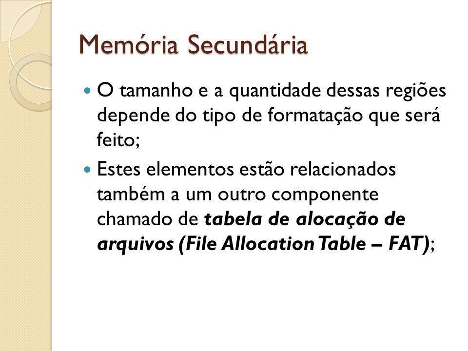 Memória Secundária O tamanho e a quantidade dessas regiões depende do tipo de formatação que será feito;