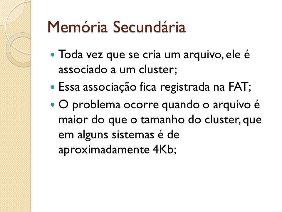 Memória Secundária Toda vez que se cria um arquivo, ele é associado a um cluster; Essa associação fica registrada na FAT;