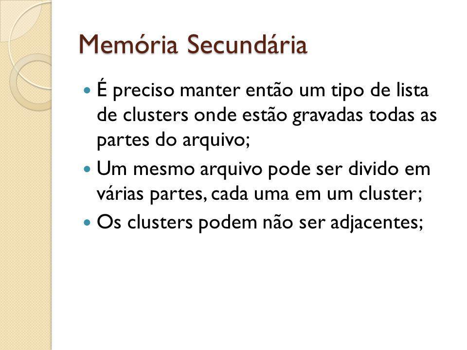 Memória Secundária É preciso manter então um tipo de lista de clusters onde estão gravadas todas as partes do arquivo;
