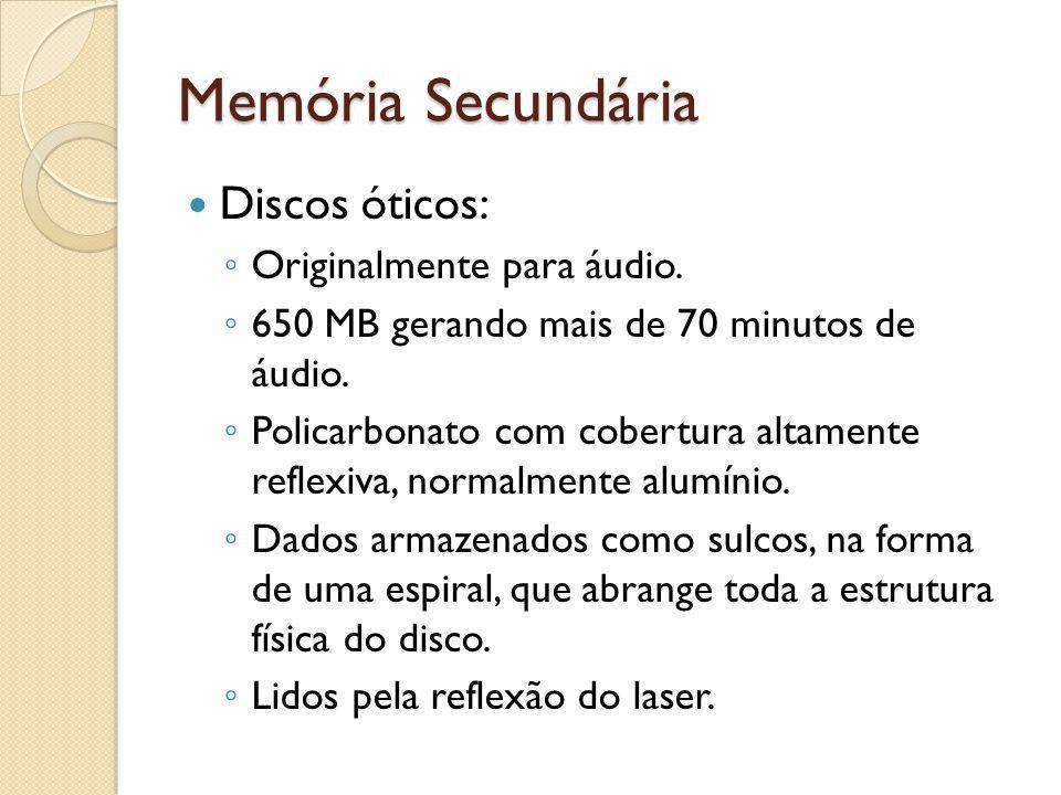 Memória Secundária Discos óticos: Originalmente para áudio.