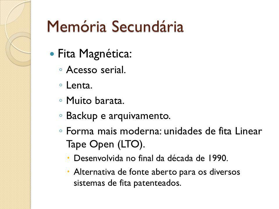 Memória Secundária Fita Magnética: Acesso serial. Lenta. Muito barata.