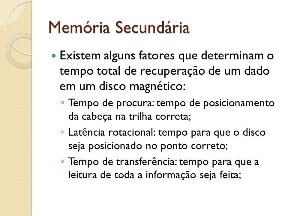 Memória Secundária Existem alguns fatores que determinam o tempo total de recuperação de um dado em um disco magnético: