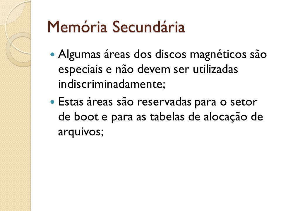 Memória Secundária Algumas áreas dos discos magnéticos são especiais e não devem ser utilizadas indiscriminadamente;