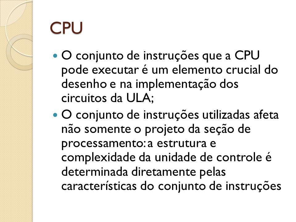 CPU O conjunto de instruções que a CPU pode executar é um elemento crucial do desenho e na implementação dos circuitos da ULA;