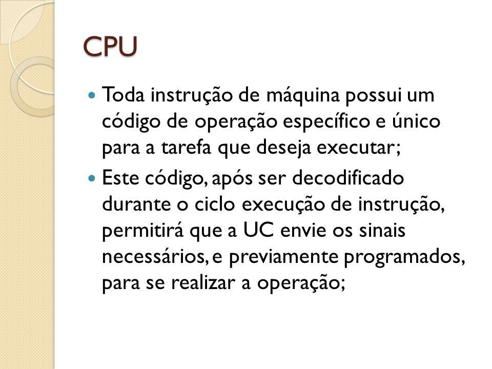 CPU Toda instrução de máquina possui um código de operação específico e único para a tarefa que deseja executar;