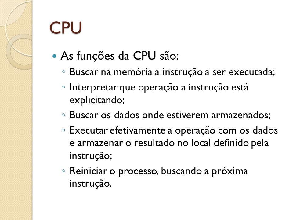 CPU As funções da CPU são: